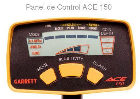 detector de metales garrett ace 150 panel de control