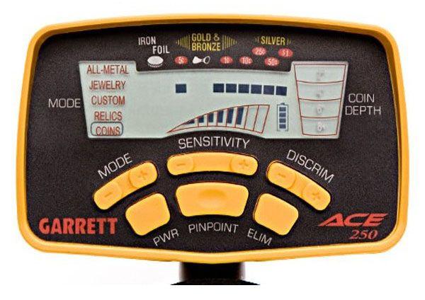 Detector de metales Garrett ACE 250 panel de control