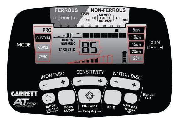 Panel de control del detector de metales Garrett ATPRO
